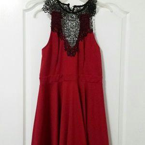 Material Girl Burgundy sleeveless black lace dress